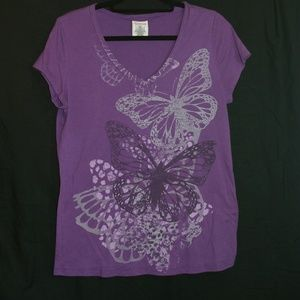 Cap sleeved Butterfly v neck t-shirt